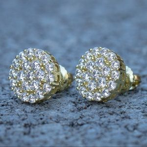 Iced Out Gold Cluster Diamond Earrings